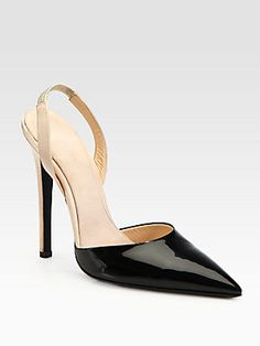Giambattista Valli Patent Leather & Satin Slingback Pumps.   Probably need to create a board just for shoes. Love this classic, sexy style.