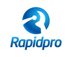 Rapidpro Logo design - Unique design logo of a letter R in the circle in a very abstract style, it is like the rotating circle, a man and the letter R in one design using the negative space concept, very creative and professional design in blue color theme. This design can be useful for consultancy, automobiles, software and technological services, data storage and more. Price $381.00