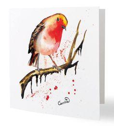 Robin Christmas Cards x 10 by SplatterInkArt on Etsy