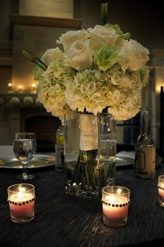 white hydrangeas, white roses, bouquet centerpiece. #Nocateewedding