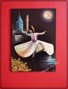 Yağlıboya Semazen Tablosu Mevlana Hz. Türbesi / Konya 50x70 cm siyah tuval oilpaiting sufi art Sümeyye Karakülah