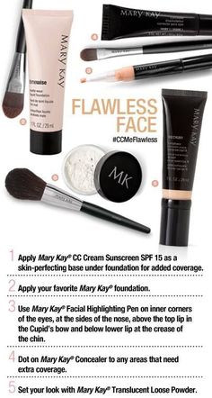 Kick your day off with a flawless face. Here's how!  Www.marykay.com/jeniellsah18