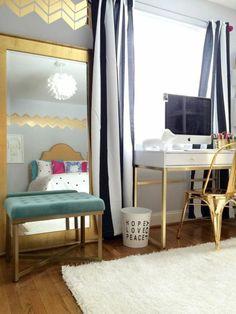 une chambre ado fille élégante, déco dorée, aménagement moderne