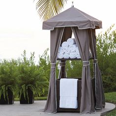 commercial-quality Woven Wicker Towel Valet offers your guests fresh, folded pool towels on the upper shelf and collects damp, used towels in the large, open bin below. Pool Towel Storage, Pool Towels, Bathroom Towels, Outdoor Cabana, Outdoor Pool, Outdoor Spaces, Outdoor Umbrellas, Summer Pool Party, Pool Fun