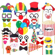 Veewon 36pcs Funny Party Photo Booth Props DIY Kit Red Nose Circus Clown Cosplay Photography Prop for Carnival Party, Wedding, Birthday and Graduation Party: Amazon.co.uk: Toys & Games