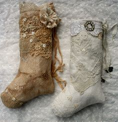 Handmade Victorian stockings~ lovely in life size and would be darling made small for tree decorations!