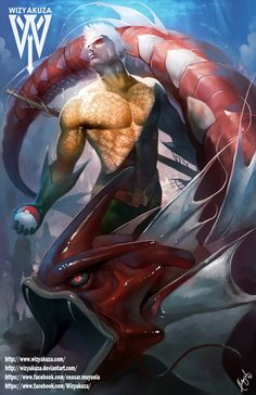 Aquaman and his Shiny Red Gyarados - DC Comics & Pokemon Crossover - 11 x Batman, Superman, Arthur Curry, Marvel Vs, Marvel Dc Comics, Aquaman, Atlantis, Character Art, Comics