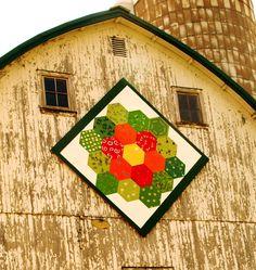 Barn Quilt: Grandma's Flower Garden on The Tesch Farm, Mayer MN #quilttrail