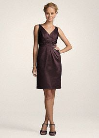 Simple yet chic, this classic silhouette is an easy choice for your bridal party, and it offers plenty of wear-again potential! V-neck tank bodice is supportive and flattering.   Pleating and ruched waist create a slimming effect to hide any flaws.  Short silhouette can be dressed up or dressed down, and won't go out of style.  Cotton sateen fabric is ultra comfortable.  Fully lined. Back zip. Imported polyester. Dry clean only.