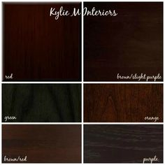 how to mix and match cherry, espresso, oak, maple wood stains and undertones for cabinets, flooring and furniture. Expresso stains (also depends on type of wood) Coordinating red & brown red, brown slight purple & purple. Clash green & orange