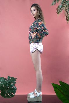 *Tropical bomber jacket + Satin pink shorts Floral Bomber Jacket Bohemian style Festival wear Summer bomber jacket