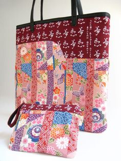 A tote bag made with Japanese kimono fabric and old by mezzu