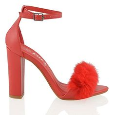 Essex Glam Womens Block Heel Fur Red Synthetic Strappy Sandals 6 BM US * Read more reviews of the product by visiting the link on the image.