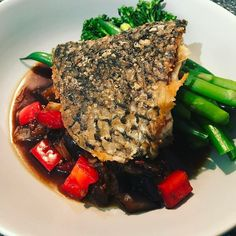 Crispy skinned barramundi steamed greens & Asian style eggplant. #onmyplate #dinnerideas #figmintathome #figmintcatering #glutenfree #healthyeats #nourishyourbody #mealideas #quickeasyyummy