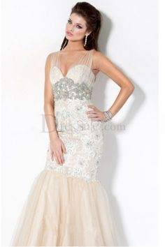 Romantic Mermaid Prom Gown with Fabulous Lace Overlaid