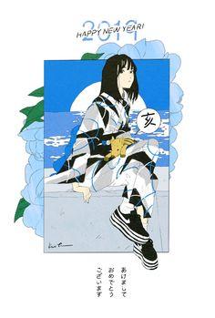 Retro Illustration, Character Illustration, Graphic Design Illustration, Japanese Graphic Design, Japanese Art, Anime Art Girl, Manga Art, Character Art, Character Design