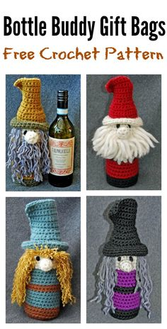 Knit Christmas Wine Cozy Free Knitting Patterns It's Christmas season and it comes tremendous early this 12 months! If you need make some handmade specialty for your loved ones and associates, you'l. Crochet Christmas Decorations, Christmas Crochet Patterns, Holiday Crochet, Christmas Knitting, Crochet Santa, Crochet Cozy, Crochet Gifts, Free Crochet, Adornos Halloween