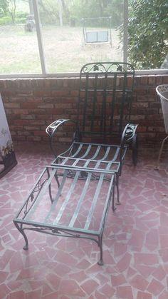 authentic john salterini midcentury rolling club chairchaise and ottomon vintage patio ironmid century