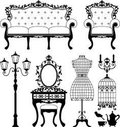 Vintage Furniture - Free Digi Stamps - password (on post) is skhedrdesigns - LOVE these Vintage Designs!  ********************************************  Shery K Designs