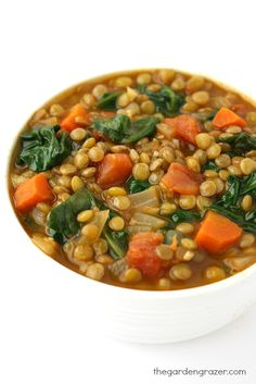 The Garden Grazer: Lentil Spinach Soup Recipe at: http://www.thegardengrazer.com/2014/12/lentil-spinach-soup.html