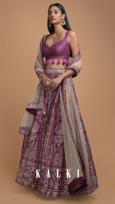 Wine lehenga choli in silk enhanced with foil print in framed tree and floral motifs. Adorned with pita zari, sequins, cut dana and gotta patches. Wedding Dresses For Girls, Indian Wedding Outfits, Indian Outfits, Indian Lehenga, Lehenga Choli, Anarkali, Designer Blouse Patterns, Blouse Designs, Lehnga Dress