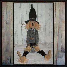 Tall Primitive Folk Art hand embroidered by LucysLazyDayzFolkArt, $65.00 #black and white #Halloween decoration