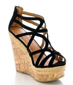f864ce300 Stylish Black Strappy Open Toe Wedge Heel Sandals - just got a pair like  this!