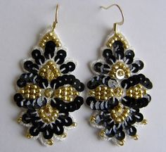 Black gold sequin embroidered sparkling lace by EtincelleStudio,