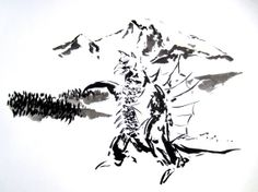 Gigan in Sumi-e - Kaiju - Godzilla  - Original 11 x 14 Sumi-e Painting