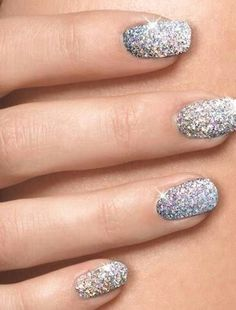 68 Trendy Ideas For Wedding Nails Silver Glitter Manicure Ideas Silver Sparkle Nails, Glitter French Manicure, Prom Nails, Wedding Nails, Bridal Nails, Trendy Nails, Cute Nails, Cool Nail Designs, Fingernail Designs