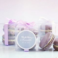 My purple vanilla bean flavoured macaroon bonbonnieres / party favours. Perfect for a wedding or an addition to a fancy party bag. Colours are customizable and even shapes such as love hearts can easily be applied for added effect. Super cute and delicious gift ideas.