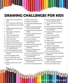 Are your kids wondering what to draw? Get this list of drawing prompts and fun things for kids to draw! Are your kids wondering what to draw? Get this list of drawing prompts and fun things for kids to draw! Drawing For Kids, Art For Kids, Crafts For Kids, Sketching For Kids, Summer Crafts, Drawing Challenge, Art Challenge, Drawing Ideas List, Art Doodle