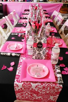 Black Hot PinkWhite Birthday Party Ideas16 Birthdays and