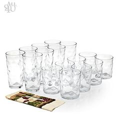 All 4 You 12 Piece Elegant Eclipse Glassware 4 7 oz 4 13 oz 4 17 0z Set 12  1 Hand Towel * See this great product.