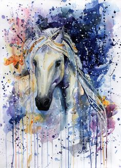 Watercolor art, horse art watercolor art, painting e equine Abstract Horse Painting, Unicorn Painting, Watercolor Horse, Watercolor Animals, Painting & Drawing, Horse Paintings, Watercolour Painting, Tattoo Watercolor, Unicorn Drawing