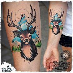 #ewasroka #deer #deertattoo #tattoo #tatuaz #tatuaż #watercolor #watercolortattoo #watercolourtattoo #stag #stagtattoo #animaltattoo #girlytattoo #girlwithtattoo #mountainstattoo #graphictattoo #worldfamousink @worldfamousink @rocknroll_tattoo_warszawa