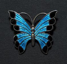 Meka Denmark  Sterling Turquoise-blue and Black Enamel Butterfly brooch