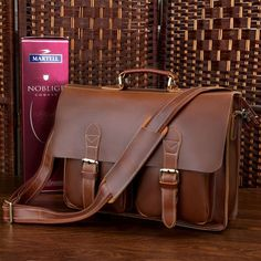 Red-brown Leather Messenger Bag Men's Leather Briefcase Leather