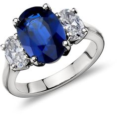 Blue Nile Oval Sapphire and Diamond Ring in Platinum (5.09 ct.) ($27,500) ❤ liked on Polyvore