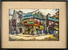 C. H. Gonda (American, 20th Century)   Capo Auction   Lot 58   Street scene, Shanghai, China. Oil on board. Signed (l.r.). Board size 13 1/2 x 20 inches. Framed.