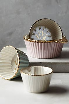 Anthropologie . { such pretty measuring cups . love the gold trim with the pastel prettiness } . #anthrofave .