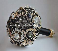 SALE 7 Black Brooch Bouquet Black and Gold Silver by LoveBouquet