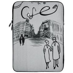 """13 inch Café in Paris Silver Gray Notebook Laptop Sleeve Bag Carrying Case for Apple MacBook 13"""" and 13 inch Computer"""