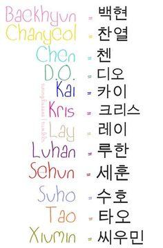 ☆☆☆☆☆Como escribir en hangeul los nombres de los miembros de EXO ☆☆☆☆☆ More
