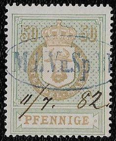 + 1874 Mecklenburg-Schwerin Germany Crown Ox Head Revenue Bob Erler #4 50pf