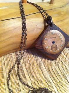 Pendant  Vintage Watch Face and Wood by SalvageAndSpruce on Etsy