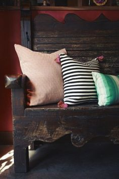 Handmade textiles, rustic wooden bench by cathy