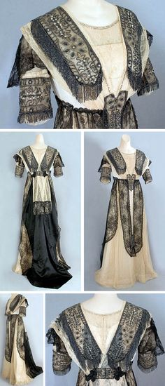 Beaded lace dinner gown, Degnan, Brooklyn, ca. 1910. Ecru satin with black lace overlays and contrasting black satin train. Boned bodice; closes in back with alternating hooks. Vintage Textile via web.archive.org