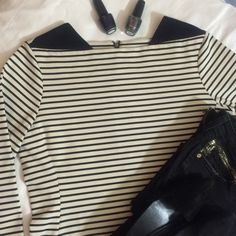 Cream Striped Peplum Top with Accent Zipper Size L NOT J. Crew! ONLY LABELED FOR EXPOSURE. Please read thoroughly before making purchase, offers or comments!!! No trades. Pre-owned. Used but excellent condition. No flaws or stains. Size large. Back zipper and black shoulders. Brand is Caslon. Cute with jeans/leggings with flats. Or slacks and heels for work. Retail $58. (From Nordstrom) Make me an offer. J. Crew Tops Tees - Long Sleeve