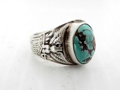 Mens Blue Gem Turqouise Signet Ring by TheLostAmerican on Etsy